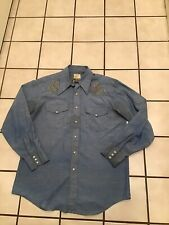 Vtg 60s 70s Big Mac Jc Penny Western Pearl Embroidered Chambray Work Shirt