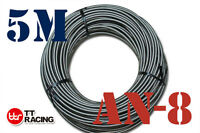 """AN8 8-AN AN-8 10.5mm 7/16"""" STAINLESS STEEL BRAIDED OIL FUEL LINE HOSE 5M Meter"""