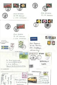 FLOWERS on 10 mailed covers from different countries (m63)
