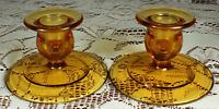 (2) Mid Century AMBER GLASS Candlesticks Candle Holders 1 Taper each EXCELLENT!