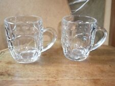 PAIR OF COLLECTABLE  CHUNKY DIMPLED GLASS TANKARDS FRANCE HALF PINT EXCELLENT