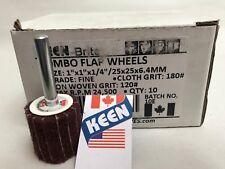 "Fine 1 X 1 X 1//4/"" Shank Interleaved Flap Wheel KEEN Brite 55971 Box of 10"