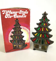 Vintage Christmas Candle Holder Tree Tiffany Style Glo Stained Glass Metal 70s
