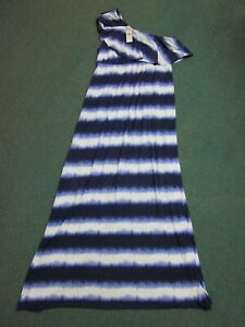 Soma, One Shoulder Ruffle, Maxi Dress, Dyed Stripe Blue and White Women's L, NWT