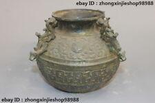 "7"" Chinese Folk old Bronze Ware Four Dragon Dynasty Palace crock Pot vase"