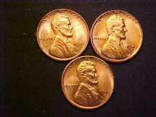 1945- P D S Set CH BU RED Lincoln Wheat Cents -3 Great Collector Coins!-d2550ucx