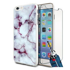 Grey Purple Marble Design Hard Case Cover & Glass For Various Mobiles