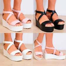 CLEATED WEDGED PLATFORMS WEDGES STRAPPY SANDALS FLATFORMS PEEP TOES ANKLE STRAP