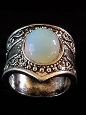 Opal light sterling silver sf ring size 8 us and 7 us