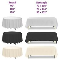 Polyester Tablecloth, White Black Ivory, Round Rectangle, Wedding Party Banquet