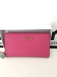 NWT New DKNY Donna Karan Zip Around Wallet Saffiano Leather Fuchsia Pink $105