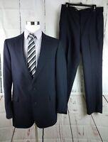 Hardy Amies Wool Blend Dark Blue Pinstripe 2 Button 2pc Suit Men's 42L 33x32