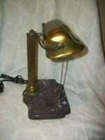 1920s BRASS BANKERS DESK LAMP MARBLED IRON PEN REST BASE OLD ANTIQUE UNUSUAL