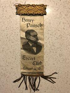 1800s Henry Pausch Escort Club Pinback Ribbon Columbus Ohio Police Printer