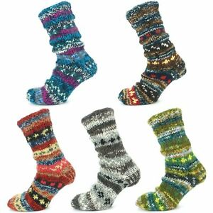 Wool Socks Chunky Knitted Fleece Lined ABSTRACT Bed Slipper Winter Warm Boot
