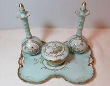 Beautiful Hand Painted Antique Porcelain Cherub Perfume & Powder Vanity Set