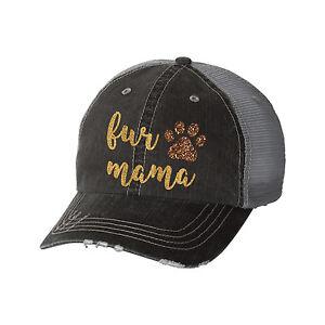 Fur Mama Distressed Glitter Ladies Trucker Hat - Dog Lover Pet Mom