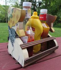 Original Vintage Handmade Wood Picnic Condiment Holder Caddy