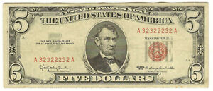 """1963 $5 RED SEAL """"BINARY"""" SERIAL NUMBER - NICE VF - PRICED RIGHT!"""