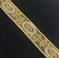 Cake decor Lace Gold Trim Bridal Ribbon Sewing Craft Wedding Sari Border 1 Yard