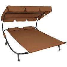 Tumbona de jardín con parasol y 2 cojines chaise longue dobles 2 plazas NUEVO