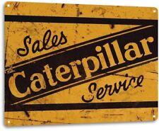 Caterpillar Tractor Heavy Equipment Sales Service Rustic Metal Tin Sign