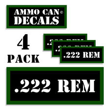 """222 REM Ammo CanLabels Ammunition Case stickers decals 4 pack  3""""x1.15"""""""