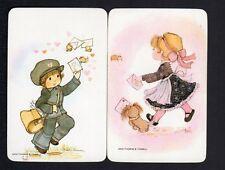 Vintage Swap Cards - Girl & Boy Sending Love Letters Pair (BLANK BACKS)