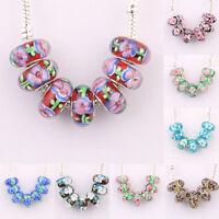 5/20 Pcs Murano Lampwork Glass Flower Big Hole Beads Fit European Charm Bracelet