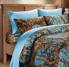 POWDER BLUE CAMO SHEET SET!! FULL SIZE BEDDING 6 PC CAMOUFLAGE LIGHT SKY BLUE