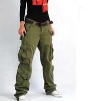Womens Military Baggy Cargo Pocket Long Pants Overalls Trousers Outdoor Hiking #