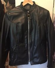 Vintage BROOKS LEATHER CAFE RACER Motorcycle Biker Black Jacket.  Size 34