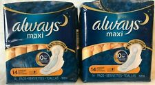 Always Maxi Overnight Lot of 2 - 14 Count Free Shipping