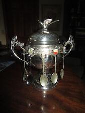 New Amsterdam Silver Co. QUADRUPLE SILVER PLATE Fondue Dish / Bird Figure Topper