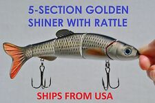 5-Section Multi Jointed Fishing Swimbait Crankbait Bass Lure - Golden Shiner