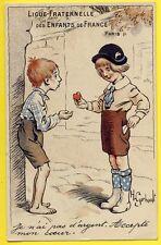 cpa Illustration GERBAULT PARIS Ligue Fraternelle des Enfants RICHE et PAUVRE