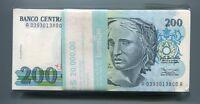 Brasil 200 Cruzeiros 1990 P229 Banknote Brazil UNC 100 Note Bundle - A Prefix