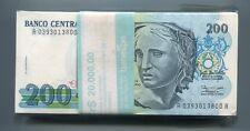 Brasil 200 Cruzeiros 1990 PICK 229 Banknote UNC 10 Note Lot A Prefix Brazil