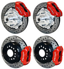 "WILWOOD DISC BRAKE KIT,1971-1974 AMC,12"" DRILLED ROTORS,4 PISTON RED CALIPERS"