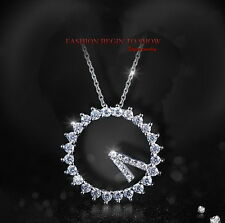 Silver Clear Made with Swarovski Crystal Women Circle Drop Bridal Necklace N30
