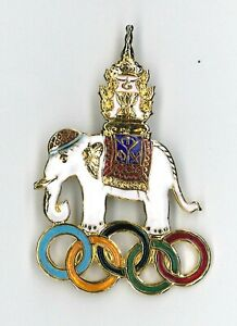 Thailand Olympic NOC pin - large elephant - LA 84 Summer Team - badge