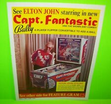 Elton John Capt Fantastic Pinball FLYER Original Bally 1976 Pop Rock Icon Art