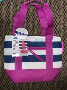 Artic Zone Insulated Tote Antimicrobial Protection  Purple / White Blue New