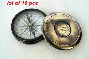 Antique Stanley London Pocket 1885 Compass Vintage Brass Nautical Compass