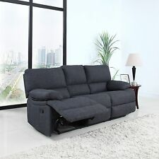 Classic and Traditional Dark Grey Fabric Oversize Living Room Recliner Sofa