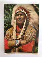 Living a Heritage Canadian Indian Chief, Canada Vintage Postcard, Native Pride