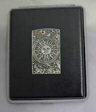 100mm Black Leather 20pcs Cigarette Case/ID Holder- Zodiac Sun Panel Pewter