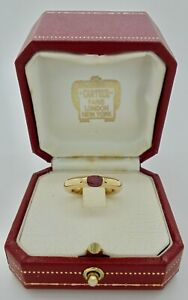 Authentic Vintage Cartier Ellipse Ruby 18k Yellow Gold Ring size 50 in Case