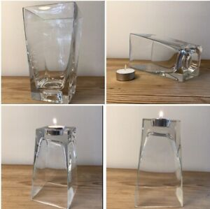Clever Square Clear Glass Vase/ Tea Light Holder, Dual Purpose, Turn Upside Down