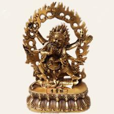 Tibetan Buddhist handmade brass Buddha statue Six arm Maha Gala Mahakala